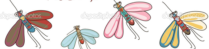 set of funny cartoon mosquitos with different letterings and colors
