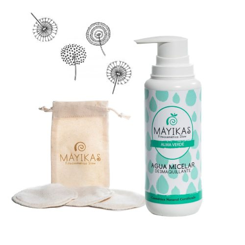 Agua micelar natural desmaquillante + discos reutilizables